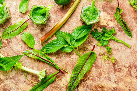 Appetizing healthy summer green smoothie from stalks of rhubarb and herbs.