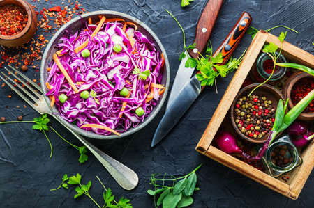 Fresh vegetables salad with purple cabbage and carrot.Coleslaw salad