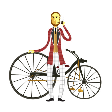 19th century style: Vintage cyclist.