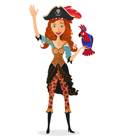 Pirate girl waving with a parrot isolated on a white background. Vector.