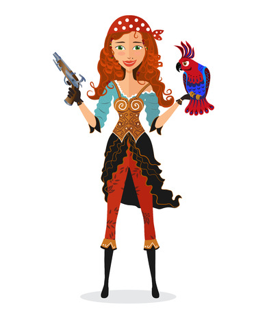 girl gun: Pirate girl with parrot and powder gun - vector illustration.