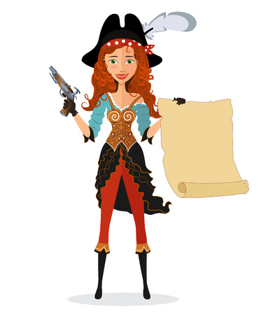 girl gun: Cartoon pirate girl with powder gun and scroll isolated on a white background. Vector.