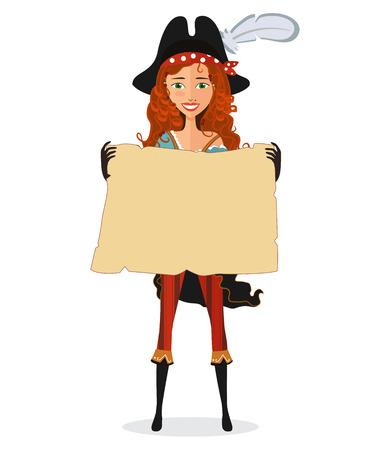 pirata mujer: Muchacha del pirata con el mapa. Mujer del pirata con desplazamiento aislado en un fondo blanco. Ilustración del vector. Vectores