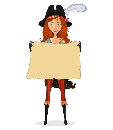 mujer pirata: Pirate Girl with map. Pirate woman with scroll isolated on a white background. Vector illustration.