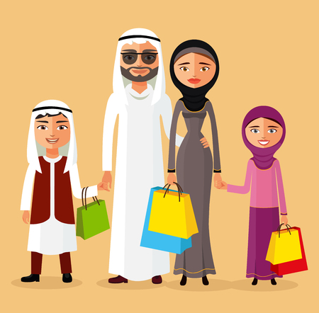 Arab couple with children shopping together. Arab family in the shop. Flat Vector Illustration.