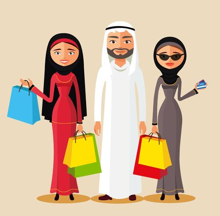 Arabic couple holding gifts and shopping bags. Arab family shopping together. Flat vector illustration. Illustration