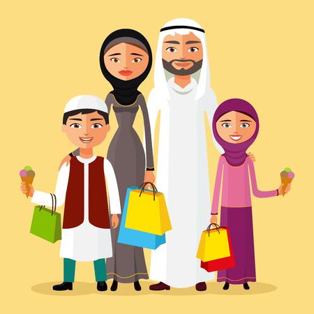 niños de compras: Vector illustration arabian man, woman and children shopping flat cartoon vector illustration. Eps10. Isolated on background. Vectores