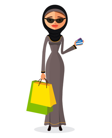 glamorous woman: Glamorous arab woman standing in her traditional dress holding shopping bags flat cartoon vector illustration. Eps10. Isolated on a white background. Illustration