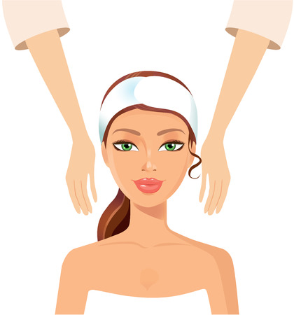 woman washing face: Young girl taking Spa treatments isolated on a white background. Vector. Clean skin, cosmetics concept, fresh healthy face. Illustration