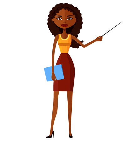 tutor: African American teacher with a pointer. Young African American business woman presenting something. Tutor character. flat cartoon vector illustration. Eps10. Isolated on a white background.