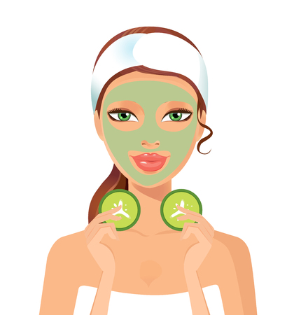 woman washing face: Woman spa with cosmetic face mask. Smiling girl portrait. Clean skin, cosmetics concept, fresh healthy face. Beautiful model. Graphic design element for spa or beauty salon poster. Illustration