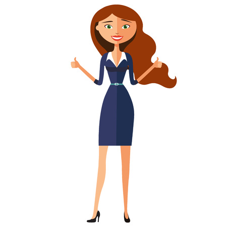 approving: Young confident business lady approving something. Smiling woman showing thumbs up.Vector Illustration