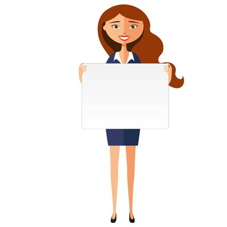 Smiling business woman with banner. Friendly young woman standing with board flat cartoon vector illustration.