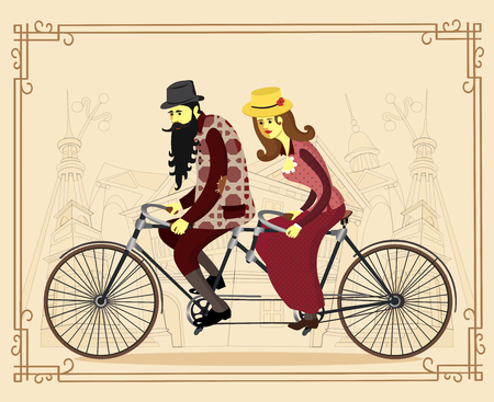 happy mature couple: Cool vector flat design happy mature man and woman characters couple riding tandem bicycle isolated. Love couple. Valentines day greeting card. Vector cartoon illustration.