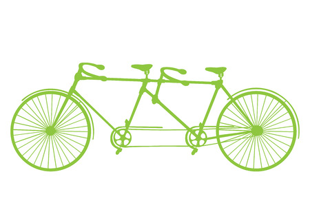 deuce: Retro blue silhouette tandem bicycle isolated on a white background. Vector. Illustration