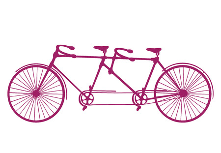 Retro blue silhouette tandem bicycle isolated on a white background. Vector. Illustration