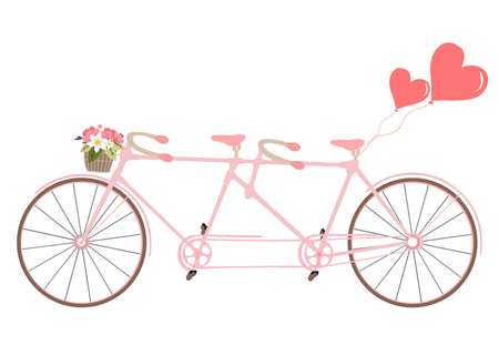 holidays for couples: Tandem bicycle with basket fully of rose flowers and heart. Vector. Ideal for invitation design, save the date, wedding and other. Valentines Day postcard with vintage tandem bicycle.