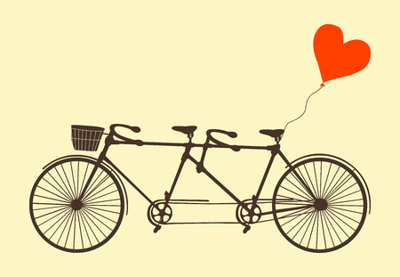 Tandem bicycle and heart. Vector. Ideal for invitation design, save the date, wedding and other. Valentines Day postcard with vintage tandem bicycle. Illustration