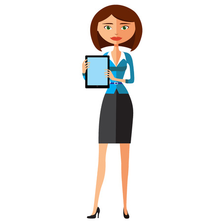 Business woman character with tablet. Pleasantly smiling business girl. Vector