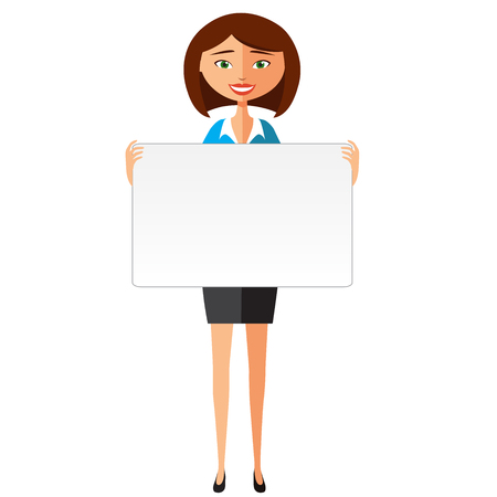 confident: Confident young business woman holding board.