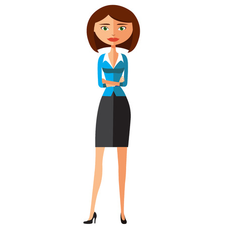 Serious cute business woman. Focused business woman. Vector. Illustration