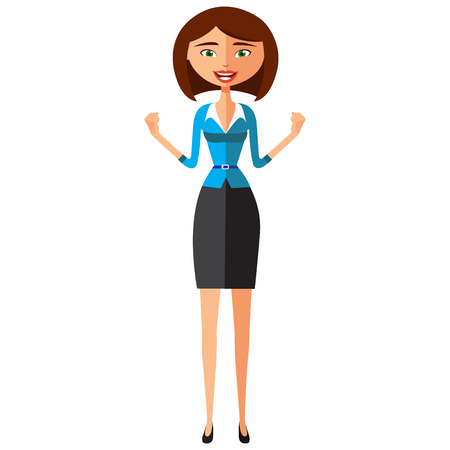 Flat surprised business woman throwing up his hands. Young confident business lady approving something. Cheerful business girl joyfully reacts. Self-Satisfied young girl. Extremely excited young girl.
