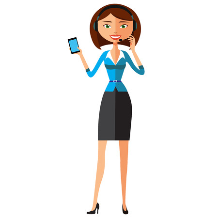 Woman wearing headset in office, receptionist, operator flat cartoon vector illustration. Eps10. Isolated on a white background.