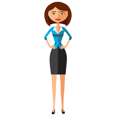 beautiful brunette businesswoman standing flat cartoon vector illustration. Eps10. Isolated on a white background. Illustration