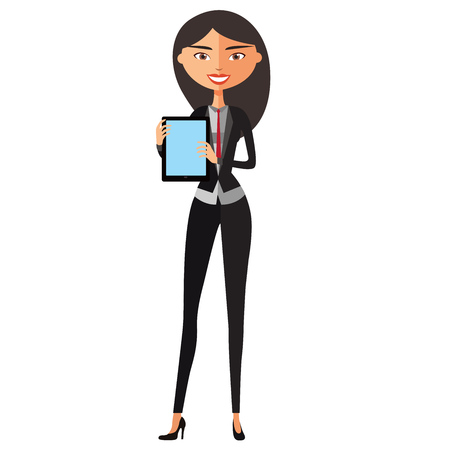 woman tablet: Business woman character using tablet. Young banker with tablet. Vector.