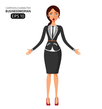 girl open mouth: Surprised business woman with open mouth .Dumbfounded young business girl. Astonished mid aged woman. Emotional girl character flat cartoon vector illustration. Eps10. Isolated on a white background.