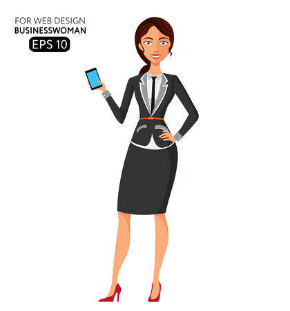 using phone: business woman using phone. Elegant young girl using phone flat cartoon vector illustration.  . Isolated on a white background.