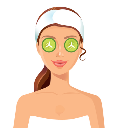 procedure: Spa procedure. Young woman relaxing at spa salon. Illustration
