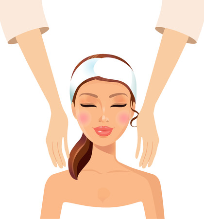 Young girl taking Spa treatments isolated on a white background. Vector. Illustration