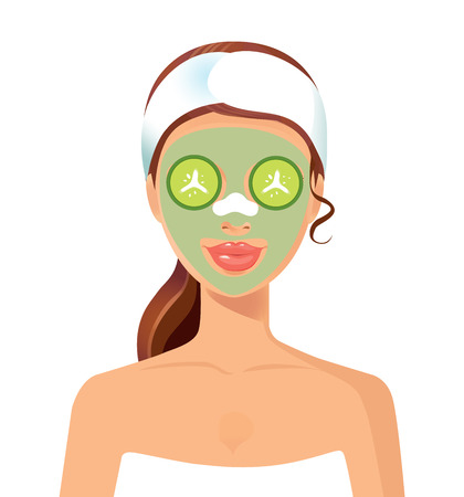 curler: Vector illustration of a beautiful woman with facial mask care. Suitable for spa salons