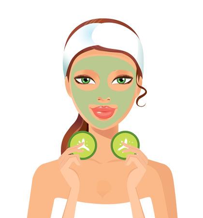 Frau Spa mit kosmetischen Gesichtsmaske. Smiling Mädchen Porträt. Saubere Haut, Kosmetik Konzept, frische gesundes Gesicht. Schöne Modell. Grafik-Design-Element für Spa oder Schönheitssalon Plakat.