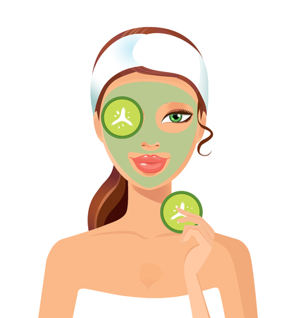 face mask: Young girl taking Spa treatments isolated on a white background. Vector. Clean skin, cosmetics concept, fresh healthy face. Beautiful model. Graphic design element for spa or beauty salon poster Illustration