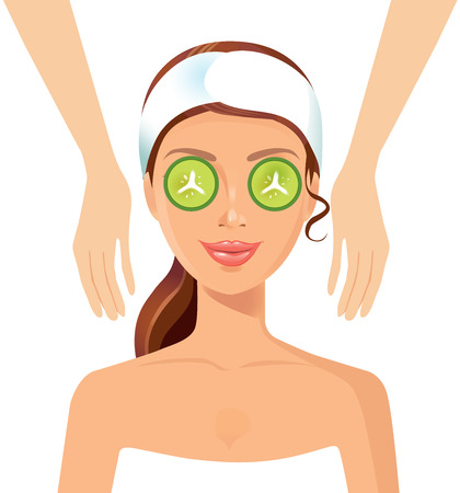 perfect face: Beautiful woman perfect face skin beauty spa skincare concept Illustration