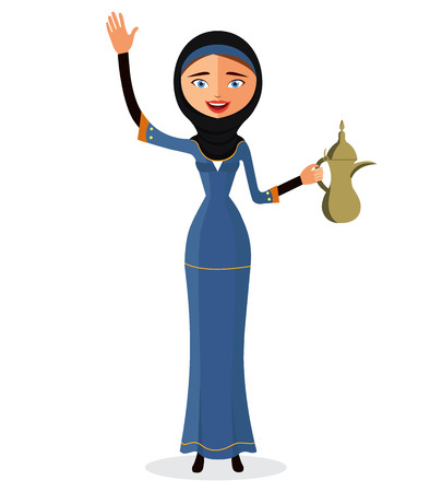egyptian woman: Happy arab woman holding an Arabic coffee pot and waving her hand isolate on white background.