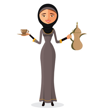 eautiful arab woman holding an Arabic coffee pot and with a cup isolate on white background.