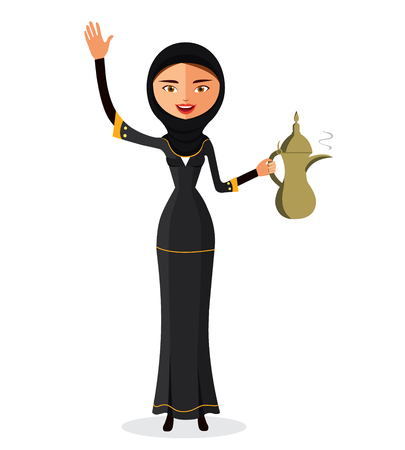 egyptian culture: Muslim woman in a hijab and waving her hand isolate on white background. Arab girl dressed in traditional costume.