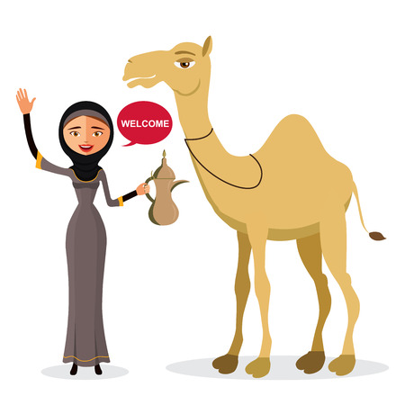 Muslim woman waving her hand with cartoon camel isolate on white background .Vector Illustration. Illustration