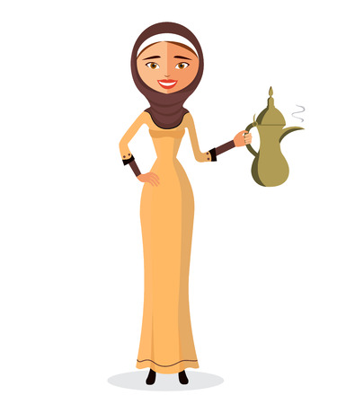 beautiful Muslim woman holding an Arabic coffee pot in a hijab isolate on white background.