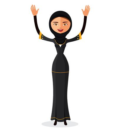 etnia: Mujer árabe en un velo y agitando sus manos aislar sobre fondo blanco.