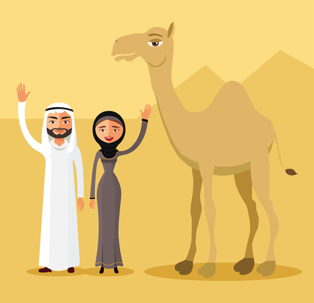 national costume: Arab man and woman in traditional national costume in desert dunes. Father, mother and camel. Illustration