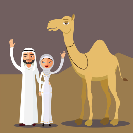 Arab couple, family, muslim people and camel, saudi cartoon man and woman waving her hand in desert dunes.