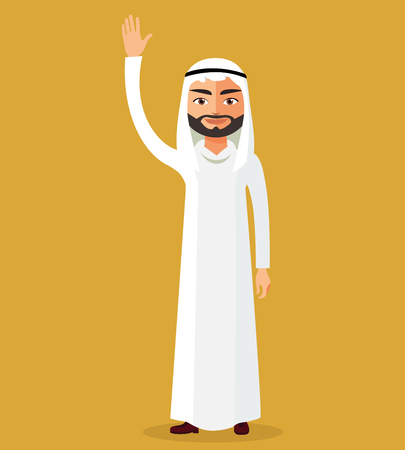 Saudi man cartoon character raising hand up. Emirate man stand waving her hand.