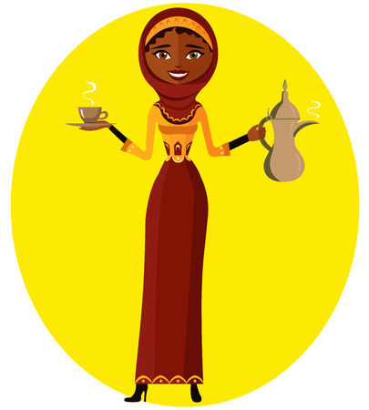 arabic coffee: muslim girl with cup and Arabic coffee pot. Business woman. Beautiful model. Vector Illustration