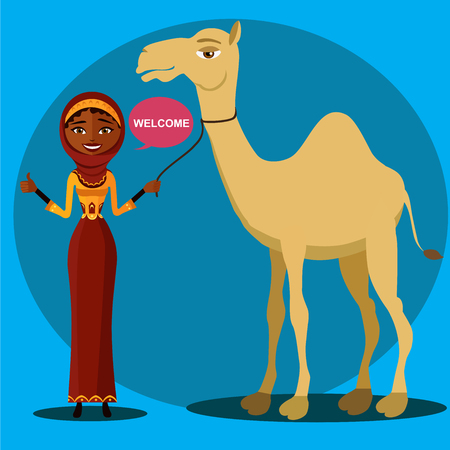 celebrate cartoon: bedouin woman walking, leading a camel. Flat surprised business woman throwing up his hand.