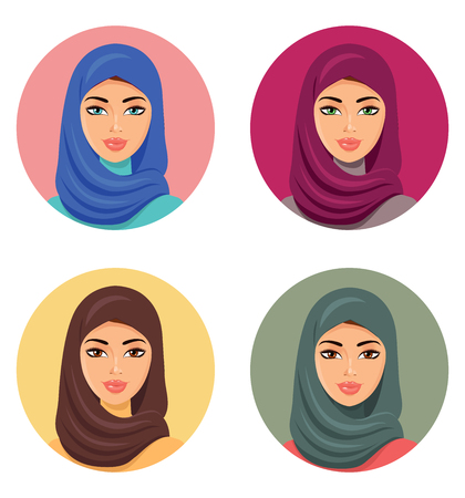 niqab: Set four Arab girls in different traditional headdresses. isolated. Illustration