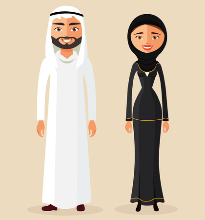 cartoon: Arabic man male and woman female together in traditional national clothes dress costume.Couple. Vector. Illustration